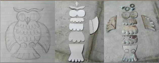 Как вырезать детали для изготовления совы из металла