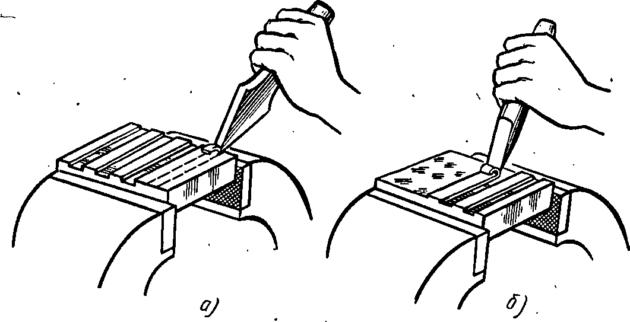 Рубка широкого металла в тисках