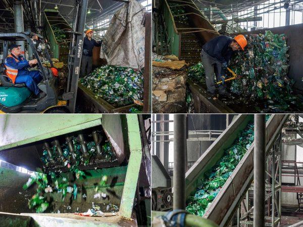Распаковка сортированных пластиковых бутылок