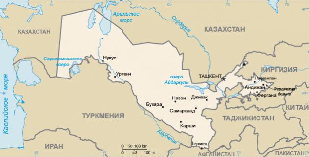 Реки Амударья и Сырдарья на карте