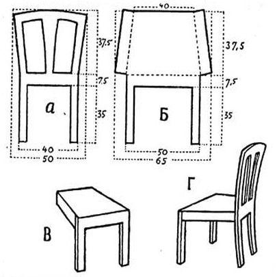 Чертеж стула из картона