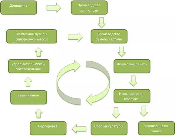 Процесс переработки макулатуры
