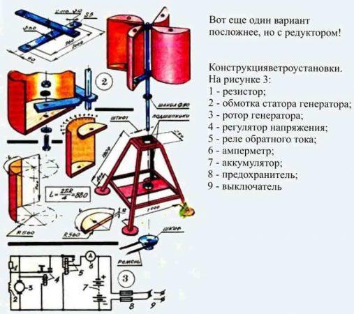 Схема вертикального ветрогенератора