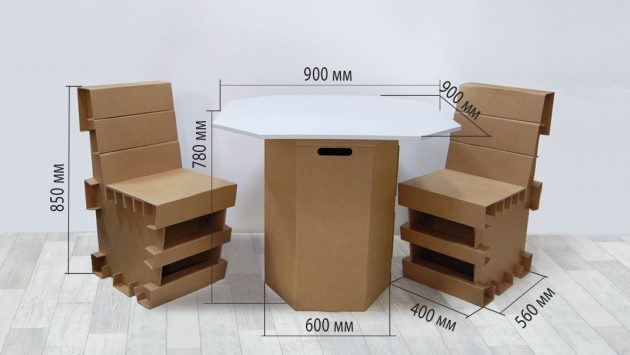 Стол и стулья из картона - размеры